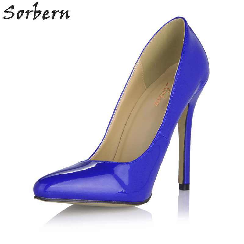 Sorbern Blue High Fetish Heels Women Pumps 12Cm Stilettos Ladies Shoes High Heels Woman Shoes Size 9 High Heels Sexy Pumps Big women high heels big