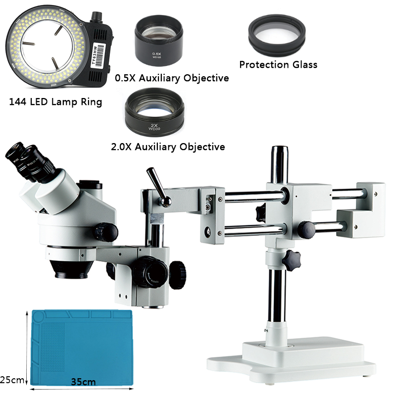 3 5X 90X Zoom Simul Focal Universal Double Arm Boom Stand Lab Industrial Trinocular Stereo Microscope