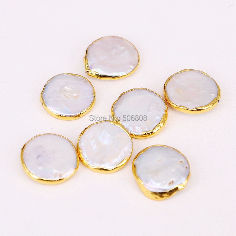 10PCS ZYZ294-9085 Gold Color Natural Pearl Coin shape Beads, Freshwater Pearl Bead Connector Spacer, for Jewelry Making