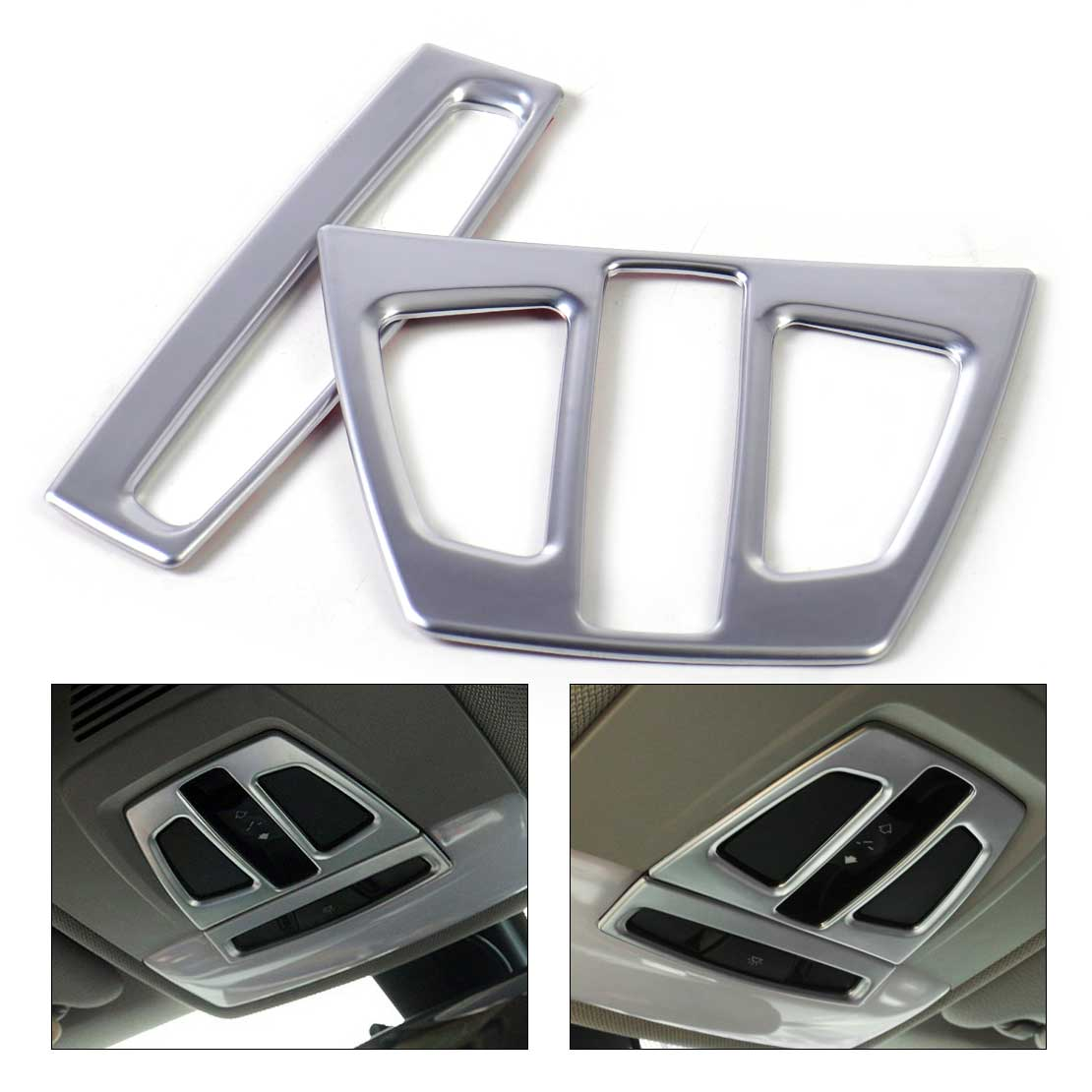 DWCX 2x Chrome Interior Auto Roof Reading Lamp Light Cover