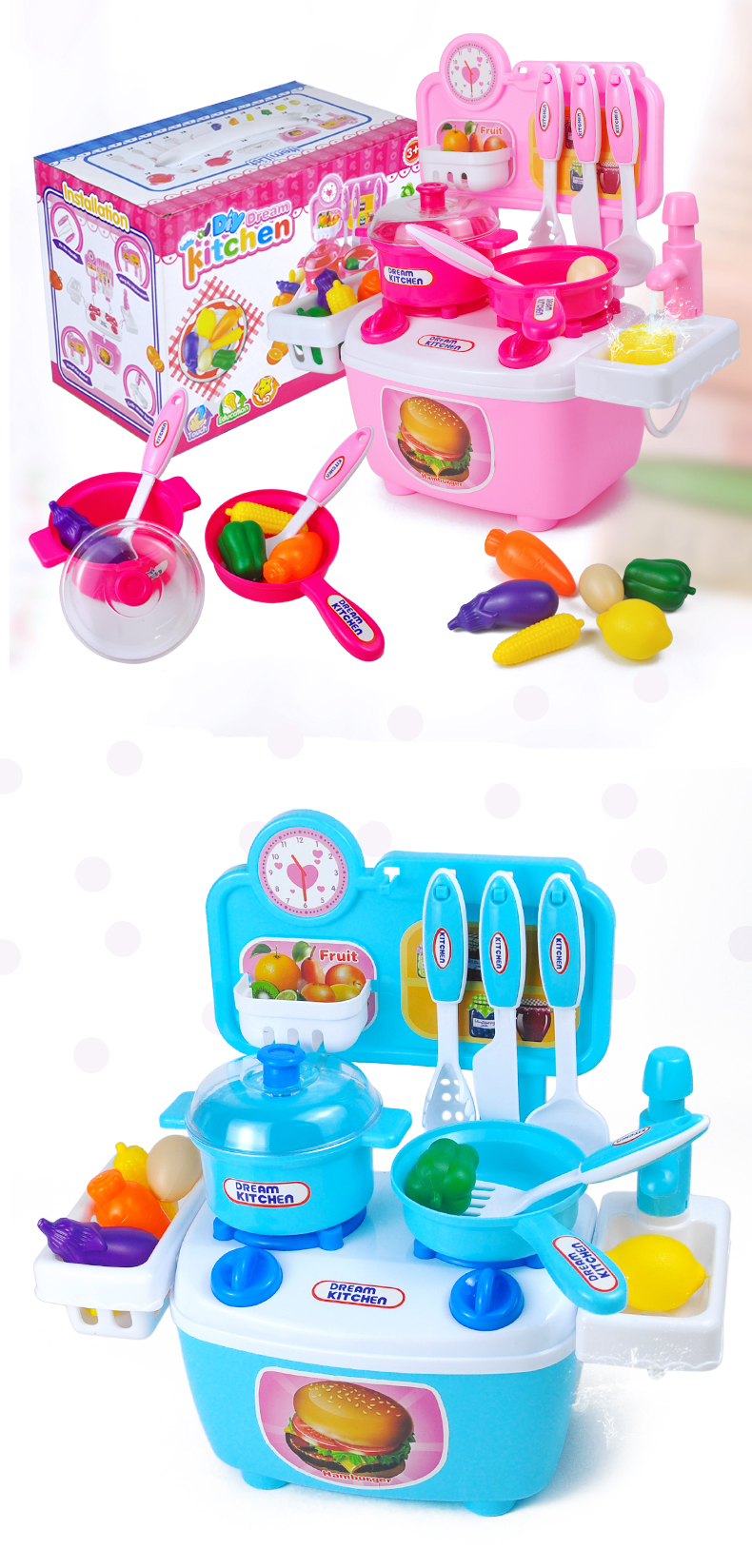 New Kitchen Toys for Kids 20pcs Pretend Play Food Set Miniature ...