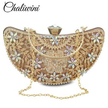 Bolso de mano de Metal para mujer, bolso de noche de cristal dorado, bolso de fiesta de boda, bolso de mano de diamantes de imitación para mujer