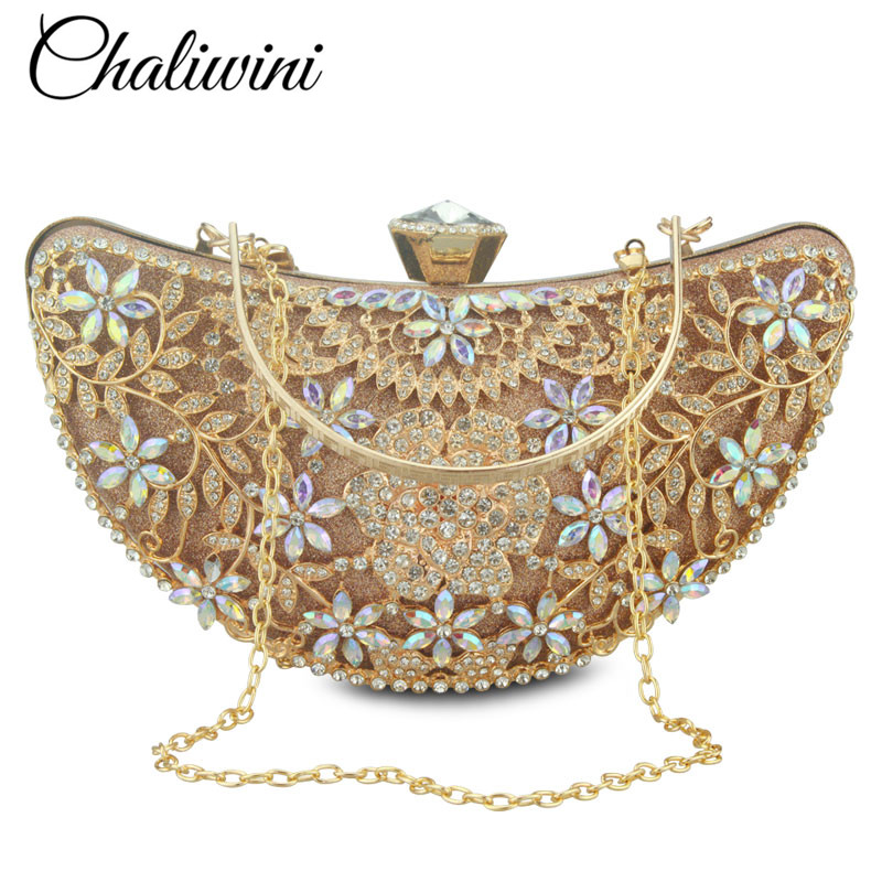 Bridal Metal Clutch Floral Bag Women Crystal Gold Evening Bag Wedding Party Handbags Purse Lady Diamond Rhinestone Clutches