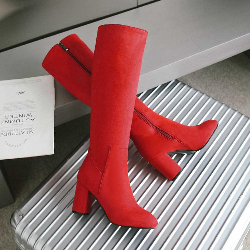 Meotina Giày Bốt Nữ Mùa Đông Dày Gót Đầu Gối Giày Cổ Cao Dây Kéo Vuông Cao Gót Cao Giày Nữ Đỏ Mới big Size 33-43