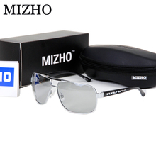 MIZHO HD All-weather Use Color Sunglasses Men Polarized Night Vision Square Aluminum Frame Luxury Photochromic Glasses For Men