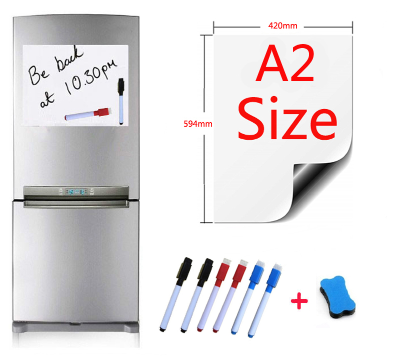 A2 Size 420x594mm Magnetic Whiteboard Fridge Magnets Marker Home Kitchen Message Writing Sticker Boards Magnets 1 Eraser 6 Pen