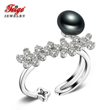 FEIGE New design 8-9mm Black Freshwater Pearl Ring Resizable 925 Sterling Silver Rings for Womens Fine Jewelry Bague