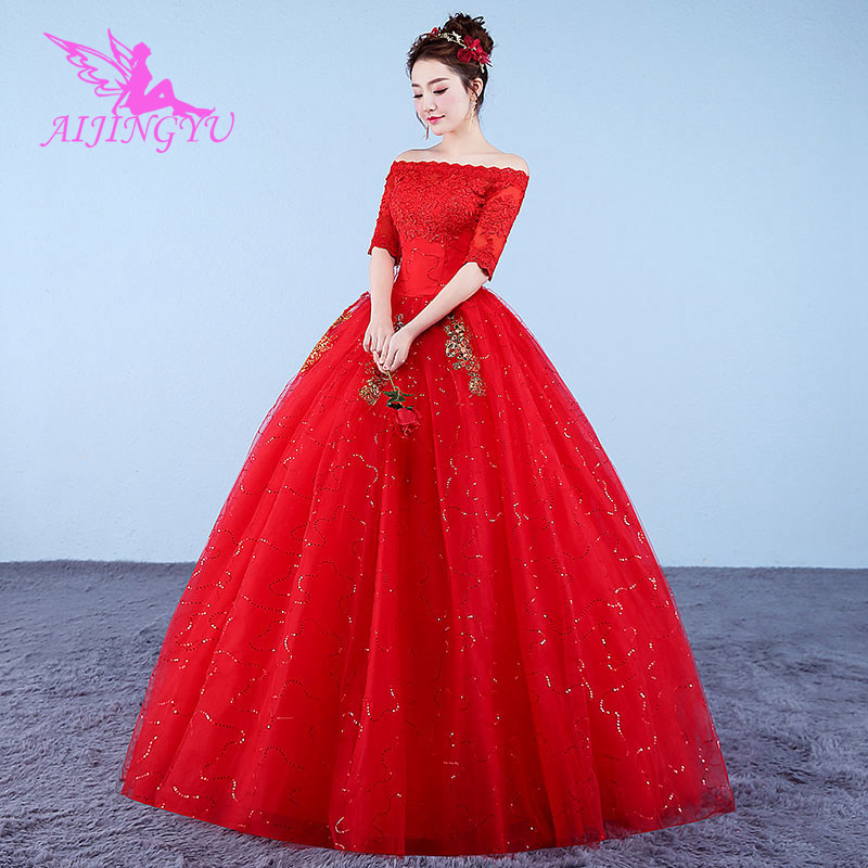 AIJINGYU 2018 Princess Free Shipping New Hot Selling Cheap Ball Gown Lace Up Back Formal Bride Dresses Wedding Dress WK887