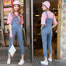 Women New Deep Blue Pocket Denim Jumpsuit 2016 Spring Ladies Style Casual Full Length Loose Bodycon Rompers Jeans Overall