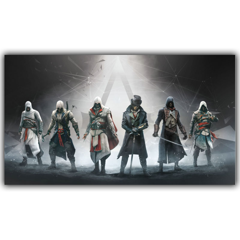 Assassins Creed Vídeo Game Poster Niños Room Decor Poster Seda Foto Wallpaper YX