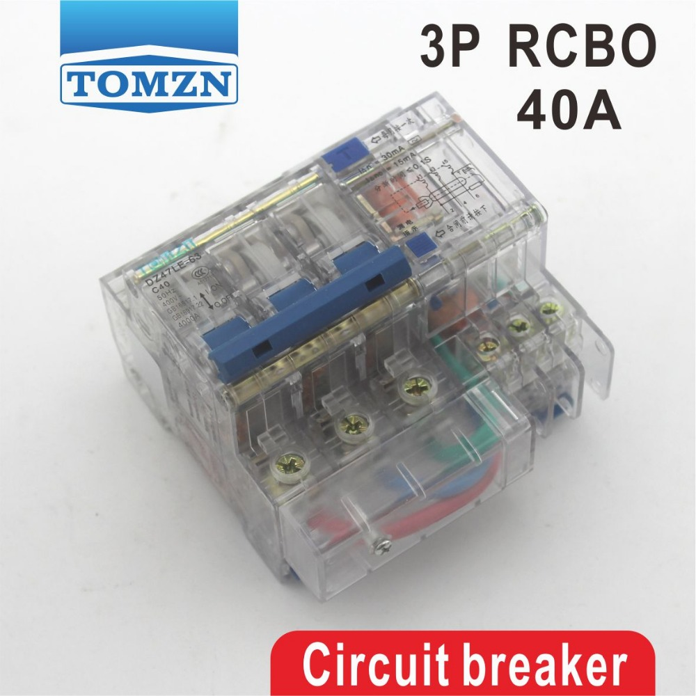 Transparent DZ47LE 3P 40A 400V~ 50HZ/60HZ Residual current Circuit breaker with over current and Leakage protection RCBOTransparent DZ47LE 3P 40A 400V~ 50HZ/60HZ Residual current Circuit breaker with over current and Leakage protection RCBO