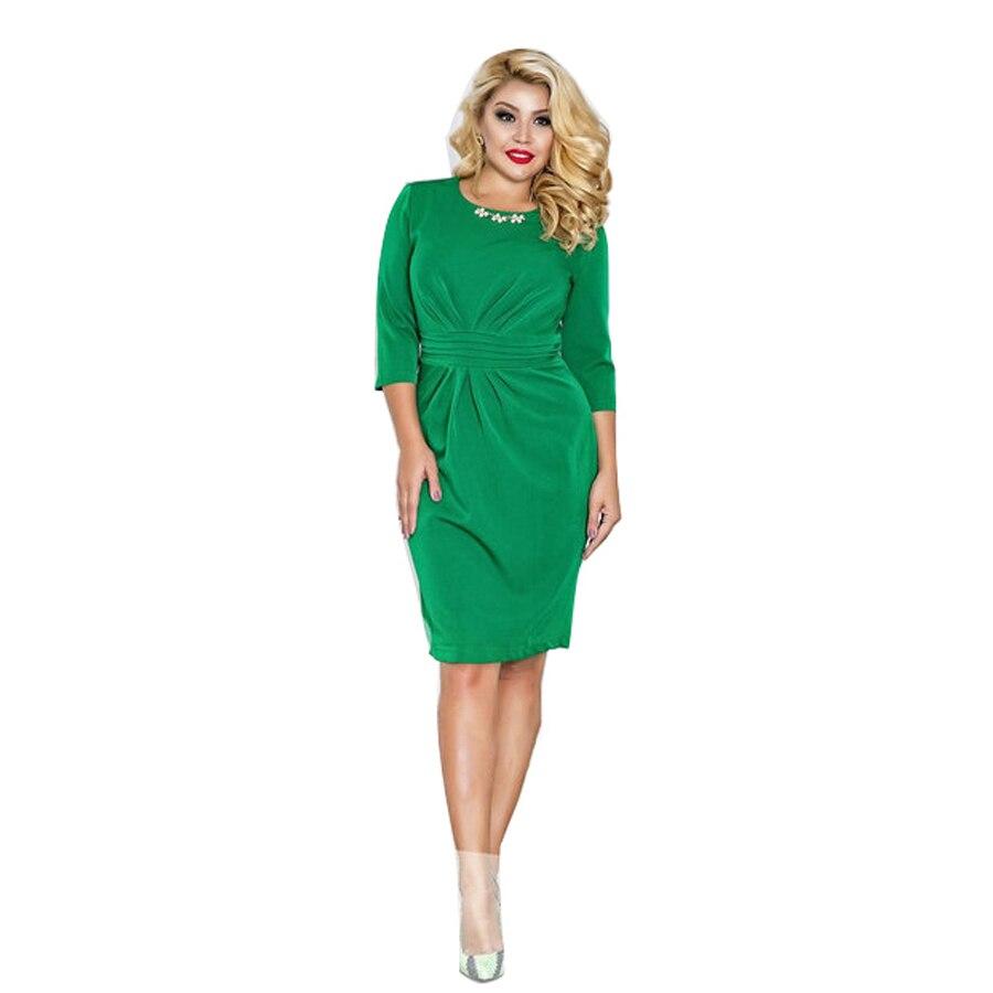 2018 ماركة النساء اللباس vestidos زائد الحجم ماكسي المتضخم 6xl س الرقبة الركبة طول ثلاثة أرباع قلم رصاص اللباس غمد بلون