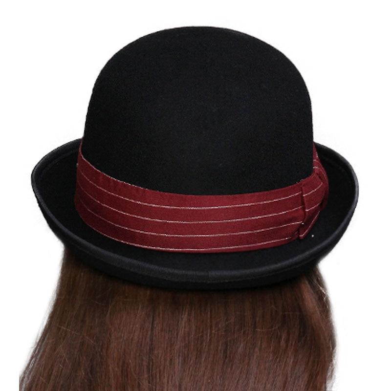 571e6d22e157ea Quality Pure Wo Hat For Women Classic Felt Fedora Black Gray Crown ...