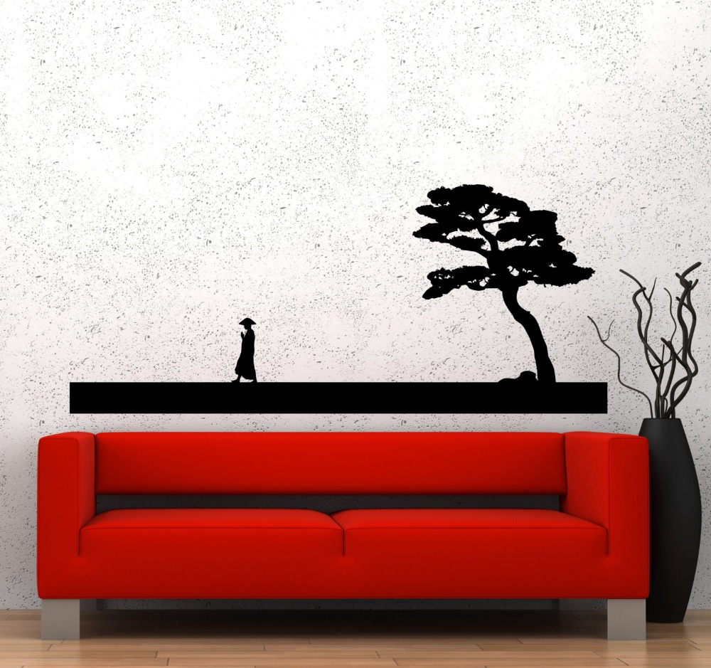 Wall Decal Chinese Style Vinyl Sticker Man And Tree Asian