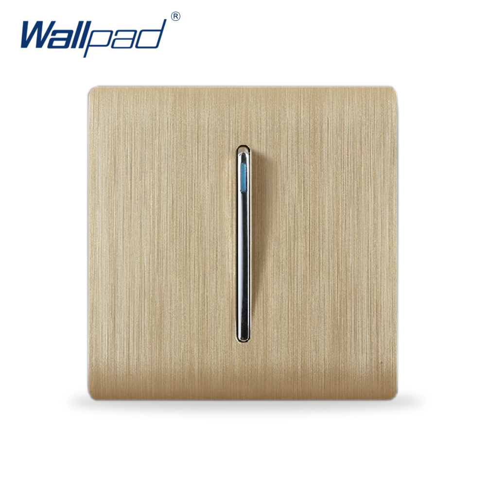 1 Gang 2 Way Wall Light Switch Wallpad Luxury Champagne Gold Color Fluorescence Button Switches Rocker switch Interrupteur kempinski wall switch 3 gang 1 way light switch champagne gold color special texture c31 sereis 110 250v popular