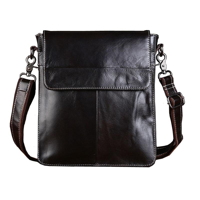 Vintage Genuine Leather Bag Men s Messenger Bag Shoulder Bags Vertical Flap Business Casual Zipper Bag