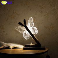 FUMAT 3D Acrylic Butterfly Lamp Creative Lovely Butterfly Wooden Base Decor Bedside Table Lamp Table Lampara Xmas Gift Brithday