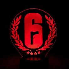 Rainbow Six Siege Night Light LED Touch Sensor 7 Color Changing Child Kids Gift FPS Game Table Lamp 6 Logo Bedroom Decor