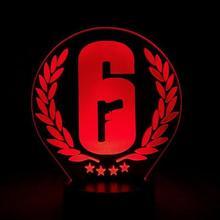 Rainbow Six Siege ночник светодиодный сенсорный датчик 7 цветов меняющий детский подарок FPS игра настольная лампа Радуга 6 Логотип Спальня Декор