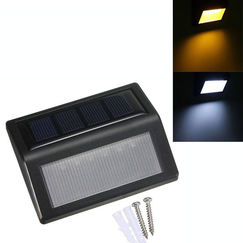 1Pc 6 LED Solar Panel Senser Light Wall Path Landscape Fence Outdoor Garden Lamp Warm Pure White Waterproof IP65