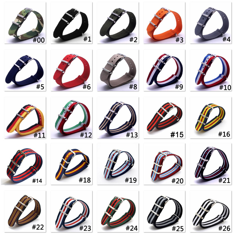1pcs Wholesale Lot Stripe Retro 20 mm Strong Military Army nato fabric Nylon Watch Woven Straps Bands Buckle 20mm watchbands