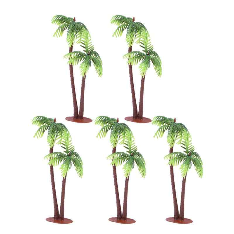 5Pcs Plastic Coconut Palm Tree Miniatuur Plant Potten Bonsai Craft Micro Landschap Diy Decor