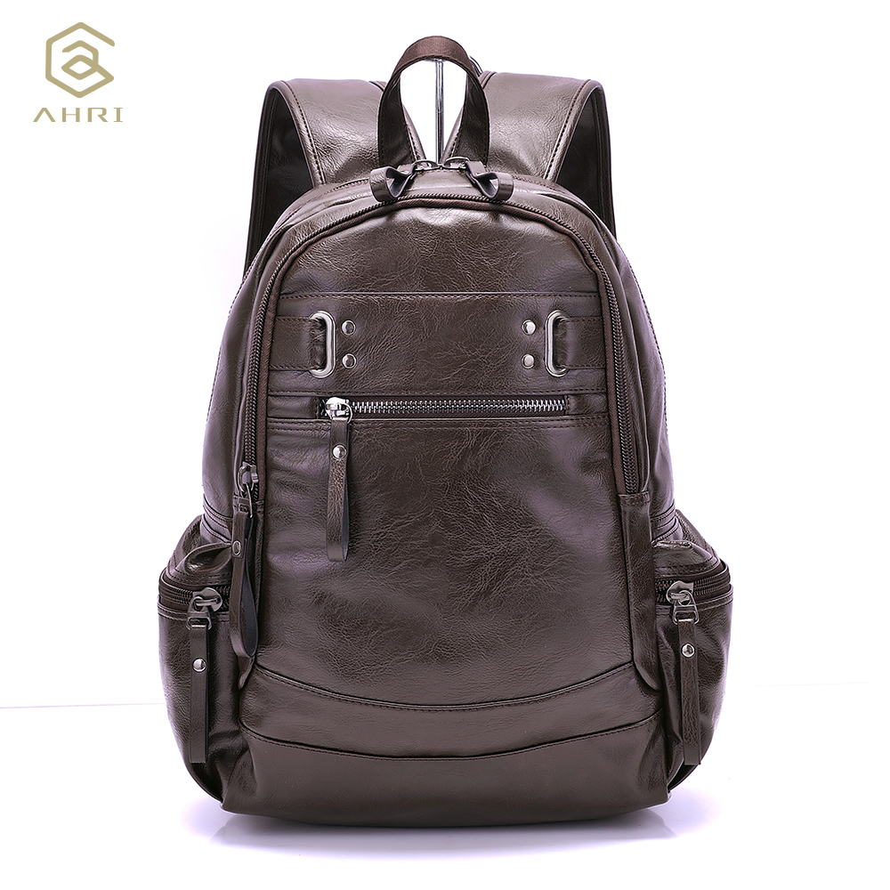 AHRI Backpacks for men Bag PU Black Leather Men's Shoulder Bags Fashion Male Business Casual Boy Vintage Men Backpack School Bag