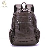 AHRI Backpacks For Men Bag PU Black Leather Men S Shoulder Bags Fashion Male Business Casual