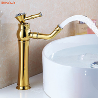 Newly Grilled White Paint Golden Polished Faucets Bathroom Basin Sink Mixer Tap Faucet Hot And Cold