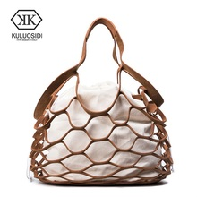 Фотография KULUOSIDI Famous Brand Fashion Luxury Women Leather Handbags Hollow Out Casual Tote Bag New String Shoulder Bags For Young Girls