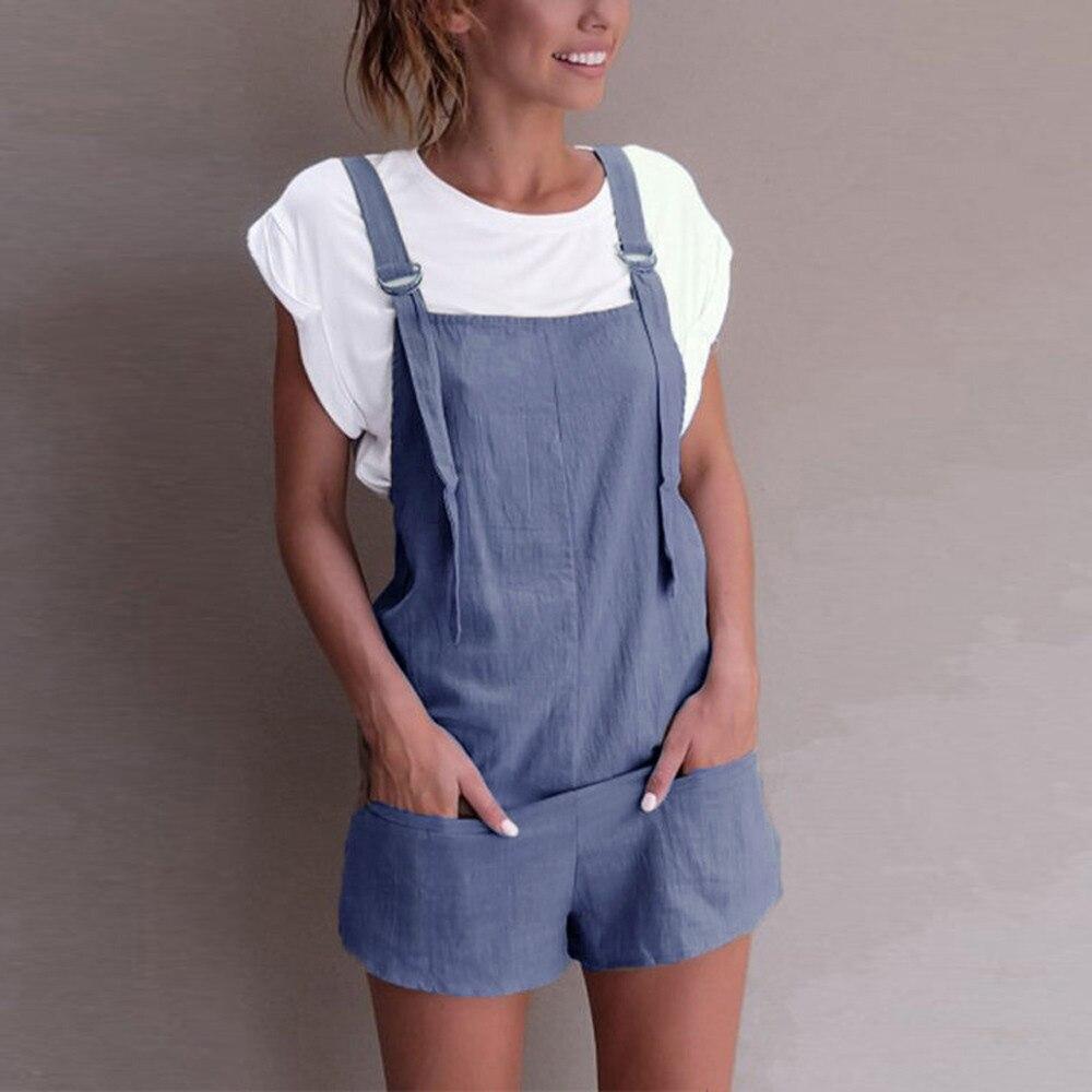 Casual Linen Cotton Jumpsuits Female Strapless Pockets Short Wide Leg Trouser Womens Summer Fashion Beach Cami Clothing 2018