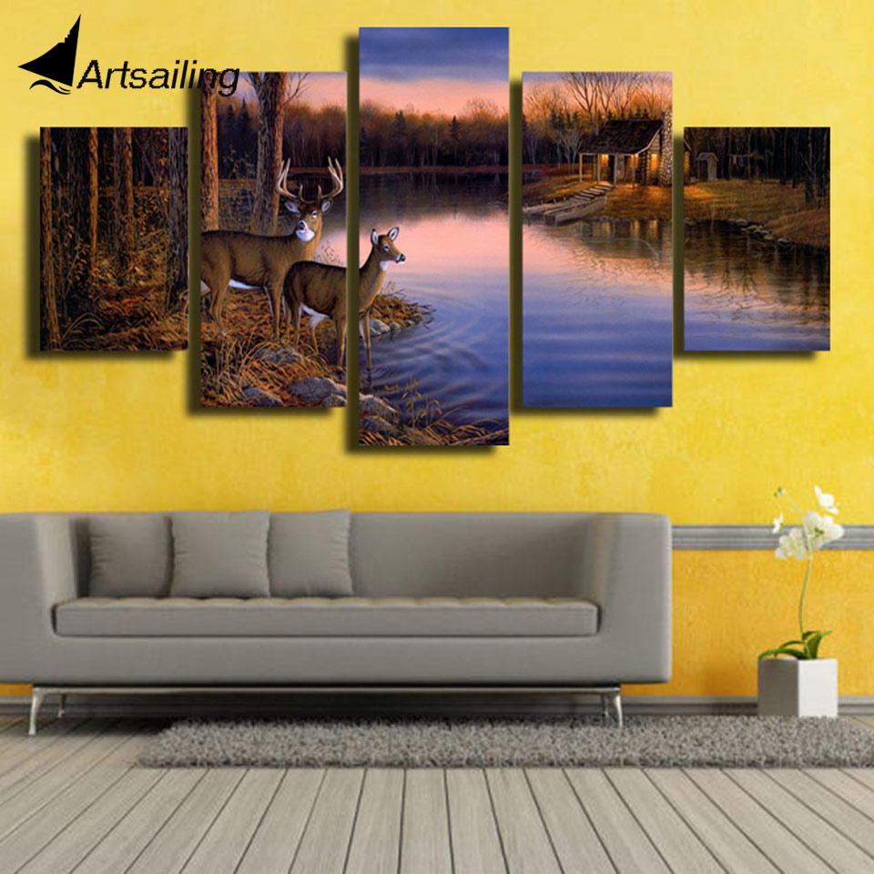 HD print 5pcs canvas art animal scenery bedroom decoration wall art ...