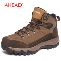 IAHEAD Men Winter Shoes Boots High Quality Cow Leather Charge Heating Warm Winter Snow Boots Wear