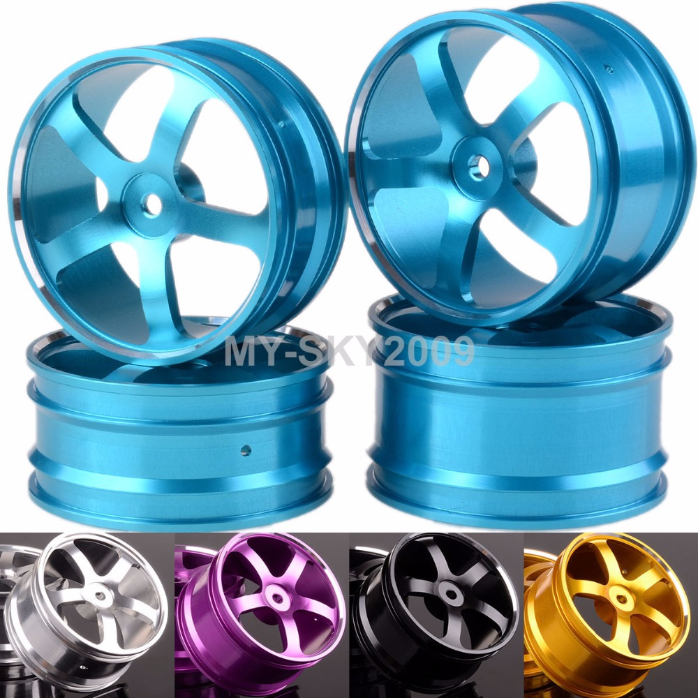 4pcs Alloy 2.2 Front Rear Wheel Rims 5 spoke For 1:10 RC Car Off-Road Buggy HSP HIMOTO Recat Racing 205all hsp 1 10 off road buggy body 2pcs 31 17 6cm 10706 10707 106ma2 rc car electric rc car bodyshell for 94107 94107pro