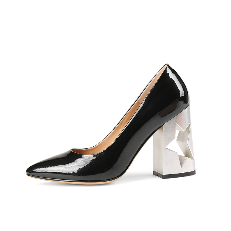 Wetkiss Apricot Frühling Mode Slip Schuhe Spitz Auf Damen Frauen Leder schwarzes Heels Fretwork Flach Kuh High Marke r4gZApwr