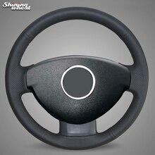 BANNIS ручной работы черный кожаный чехол рулевого колеса автомобиля для Renault Duster Dacia Duster 2011