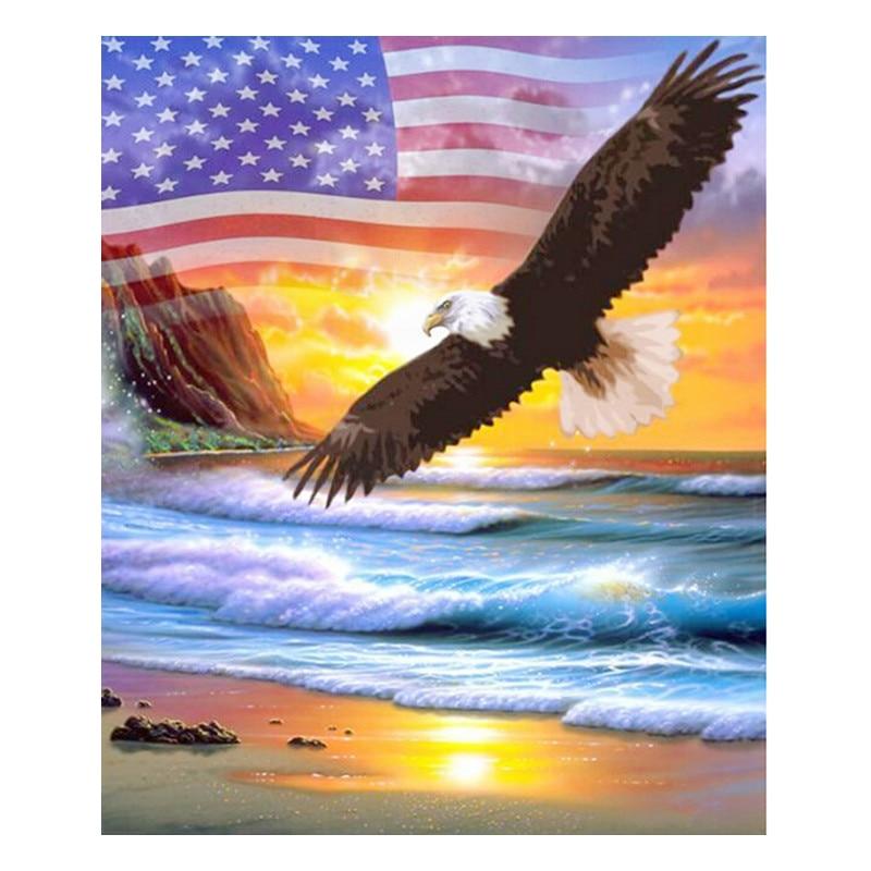 New 3D Diamond DIY Diamond Chart United States Flag United States Suite Cross-stitch Diamond Embroidered Eagle Xiang Nine days