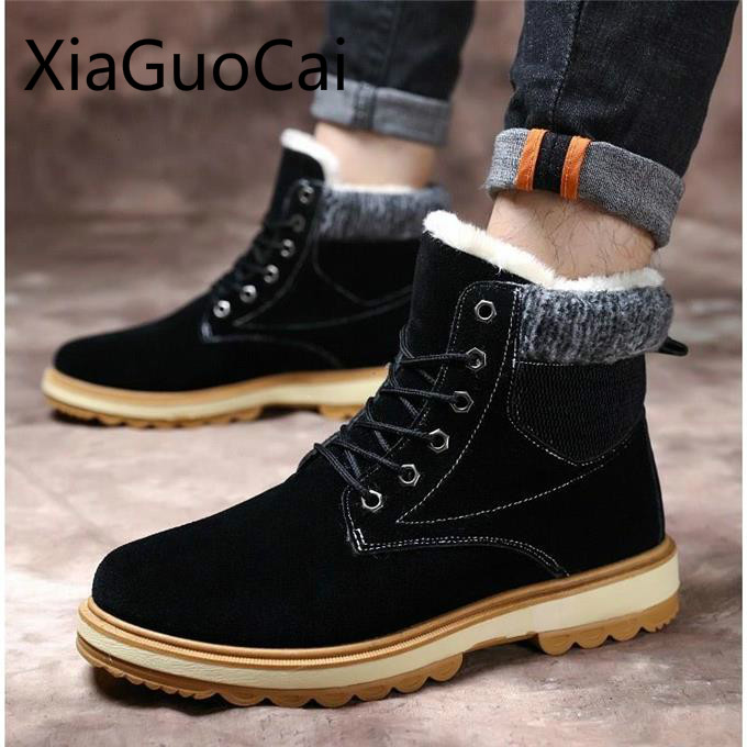 Warm Mens Snow Boots Newest High Top Plus Velvet Warm Mens Winter Boots Youth Thickening Wild Warm Boots