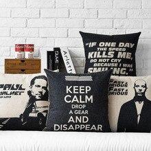 Творческий плакат форсаж 7, Быстрый и яростный подушка подушки, Белье наволочки, Главная декоративные подушки