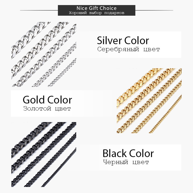 Stainless Steel Chains Necklace for Men Black Gold Silver Color Mens Necklace Curb Cuban Jewelry Gifts 3/5/7/9/11mm DLKNM09 2