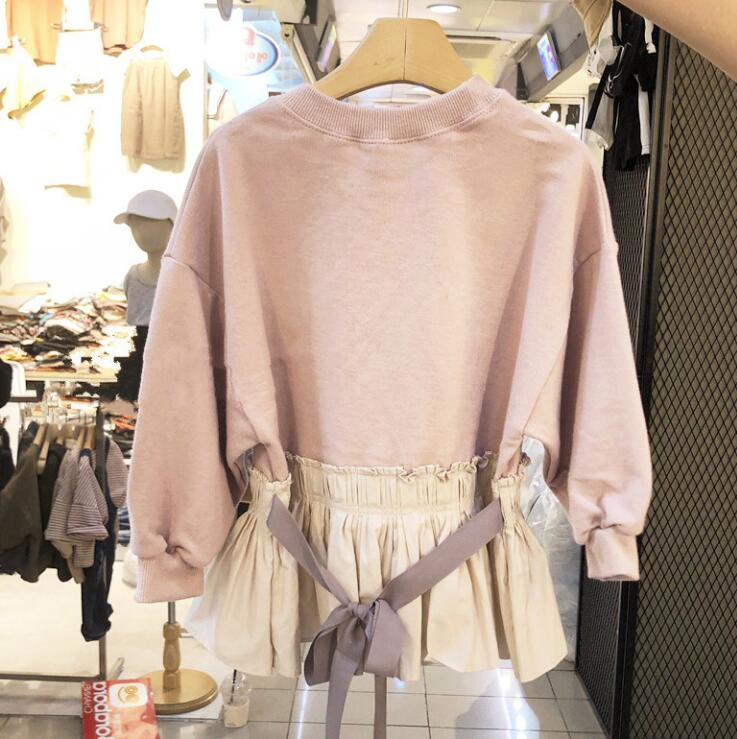 2019-New-Style-Girls-Patchwork-T-Shirt-Bow-Spring-Cotton-Fashion-Girls-Top-2-7t-PE662