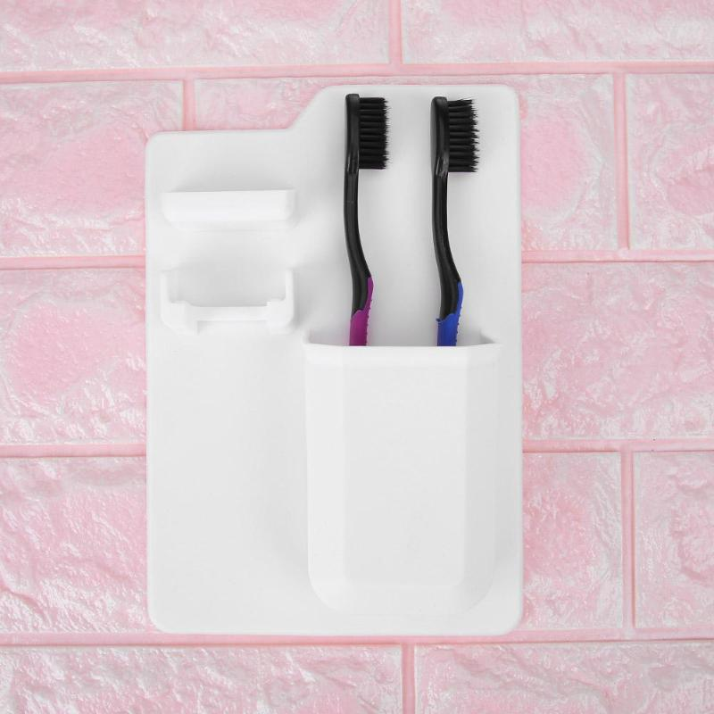 Toothbrush Rack Holder Container Waterproof Silicone Bathroom Organizer Wall HV