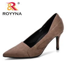 ROYYNA 2019 Spring Autumn Women Shoes Faux Suede Heels Women Pumps Stiletto Women's Work Shoe Pointed Toe Wedding Shoes Ladies faux pearl pointed toe stiletto heels