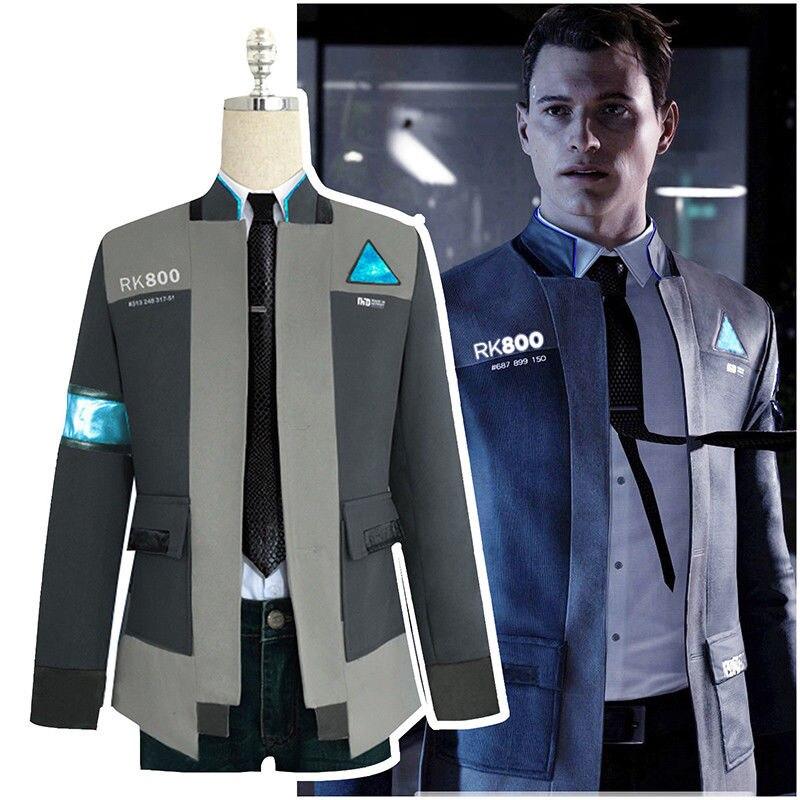 Detroit: Become Human RK800 Connor Cosplay Costume Uniform Men Jacket White Shirt Tie Coat Agent Suit Complete Outfit Suit