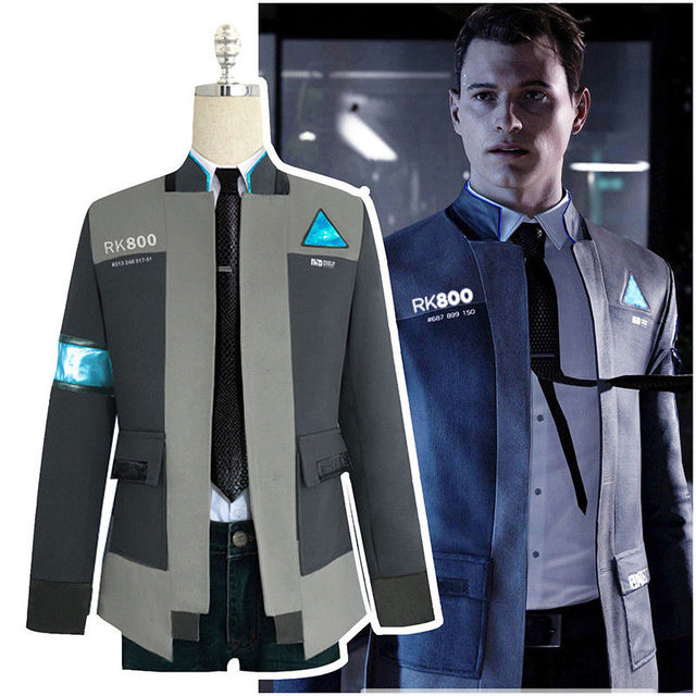 a91ab978a Detroit: Become Human RK800 Connor Cosplay Costume Uniform Men Jacket White  Shirt Tie Coat Agent Suit Complete Outfit Suit