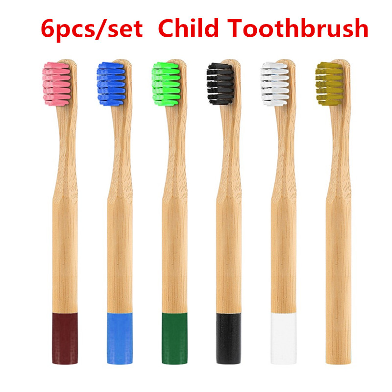 Drop Ship 6pcs Colorful Eco-friendly Bamboo Toothbrush Soft Bristle Child Toothbrush Anti Bacterial Bristles Toothbrush