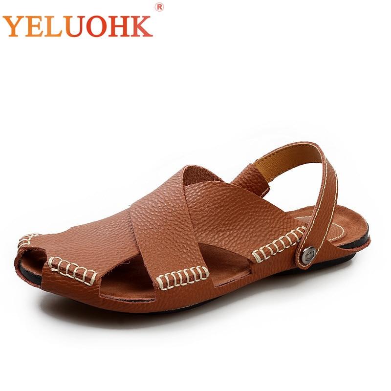 2018 Men Sandals Comfortable Soft Leather Sandals Men Summer Shoes Brown Black