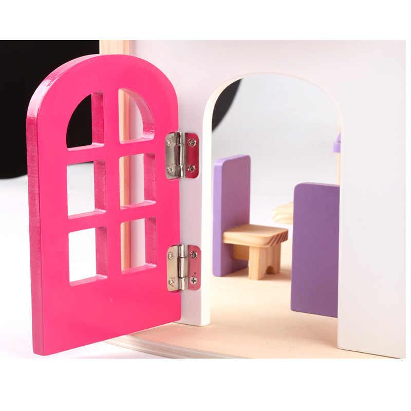 גודל גדול DIY צעצועי בובת בית גדול אביזרי מיניאטורות ריהוט עץ בית בובות דגם צעצוע עבור בנות מתנת איפור חדר
