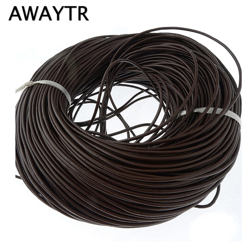Brown Genuine Round Leather Cords 3.0mm For Bracelet Neckacle 10 Meter