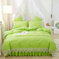 Green Korean style Bedding Set Twin Queen King Girls Bedding Set lace Bed set Duvet Cover Bed Skirt or fitted sheet bedclothes